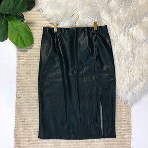 Ann Taylor NWT Faux Leather Deep Green Skirt